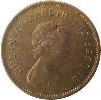 obverse of 50 Cents - Elizabeth II - 2'nd Portrait (1977 - 1980) coin with KM# 41 from Hong Kong. Inscription: QUEEN ELIZABETH THE SECOND