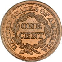 reverse of 1 Cent - Braided Hair Cent (1839 - 1857) coin with KM# 67 from United States. Inscription: UNITED STATES OF AMERICA ONE CENT