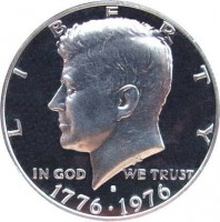 obverse of 1/2 Dollar - Bicentennial - Kennedy Half Dollar (1976) coin with KM# 205 from United States. Inscription: LIBERTY IN GOD WE TRUST 1776 - 1976