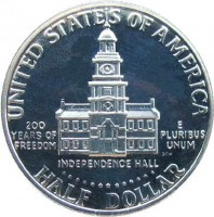 reverse of 1/2 Dollar - Bicentennial - Kennedy Half Dollar (1976) coin with KM# 205 from United States. Inscription: UNITED STATES OF AMERICA 200 YEARS OF REEDOM E PLURIBUS UNUM SGH INDEPENDENCE HALL HALF DOLLAR