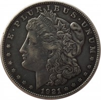 obverse of 1 Dollar - Morgan Dollar (1878 - 1921) coin with KM# 110 from United States. Inscription: E · PLURIBUS · UNUM LIBERTY 1921