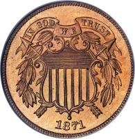 obverse of 2 Cents - Union Shield (1864 - 1873) coin with KM# 94 from United States. Inscription: IN GOD WE TRUST 1865