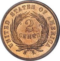 reverse of 2 Cents - Union Shield (1864 - 1873) coin with KM# 94 from United States. Inscription: UNITED STATES OF AMERICA 2 CENTS