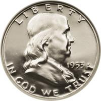 obverse of 1/2 Dollar - Franklin Half Dollar (1948 - 1963) coin with KM# 199 from United States. Inscription: LIBERTY 1953 IN GOD WE TRUST