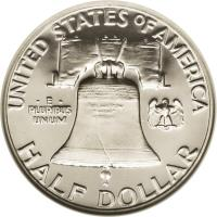 reverse of 1/2 Dollar - Franklin Half Dollar (1948 - 1963) coin with KM# 199 from United States. Inscription: UNITED STATES OF AMERICA · E · PLURIBUS UNUM HALF DOLLAR