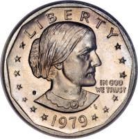 obverse of 1 Dollar - Susan B. Anthony Dollar (1979 - 1999) coin with KM# 207 from United States. Inscription: LIBERTY 1979 IN GOD WE TRUST