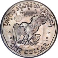 reverse of 1 Dollar - Susan B. Anthony Dollar (1979 - 1999) coin with KM# 207 from United States. Inscription: UNITED STATES OF AMERICA E · PLURIBUS · UNUM · ONE DOLLAR