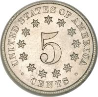 reverse of 5 Cents - Union Shield; Without rays (1867 - 1883) coin with KM# 97 from United States. Inscription: UNITED STATES OF AMERICA 5 · CENTS ·