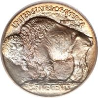 reverse of 5 Cents - Buffalo Nickel; Raised ground (1913) coin with KM# 133 from United States. Inscription: UNITED · STATES · OF · AMERICA E PLURIBUS UNUM FIVE CENTS