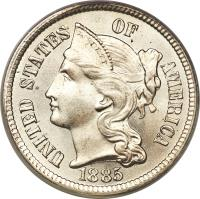 obverse of 3 Cents - Three Cent Nickel (1865 - 1889) coin with KM# 95 from United States. Inscription: UNITED STATES OF AMERICA LIBERTY 1885