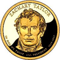 obverse of 1 Dollar - Zachary Taylor (2009) coin with KM# 453 from United States. Inscription: ZACHARY TAYLOR IN GOD WE TRUST 12TH PRESIDENT 1849-1850