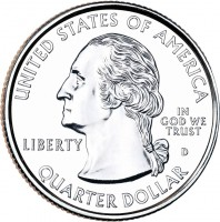 obverse of 1/4 Dollar - Hot Springs, Arkansas - Washington Quarter (2010) coin with KM# 469 from United States. Inscription: UNITED STATES OF AMERICA IN GOD WE TRUST LIBERTY P QUARTER DOLLAR