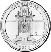 reverse of 1/4 Dollar - Hot Springs, Arkansas - Washington Quarter (2010) coin with KM# 469 from United States. Inscription: HOT SPRINGS ARKANSAS 2010 E PLURIBUS UNUM
