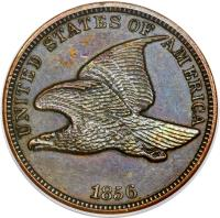 obverse of 1 Cent - Flying Eagle Cent (1856 - 1858) coin with KM# 85 from United States. Inscription: UNITED STATES OF AMERICA 1856
