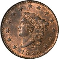 obverse of 1 Cent - Coronet / Matron Cent (1816 - 1836) coin with KM# 45.1 from United States. Inscription: LIBERTY 1820