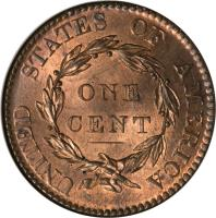 reverse of 1 Cent - Coronet / Matron Cent (1816 - 1836) coin with KM# 45.1 from United States. Inscription: UNITED STATES OF AMERICA ONE CENT