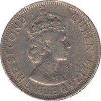obverse of 50 Cents - Elizabeth II - 1'st Portrait (1974 - 2010) coin with KM# 37 from Belize. Inscription: QUEEN ELIZABETH THE SECOND