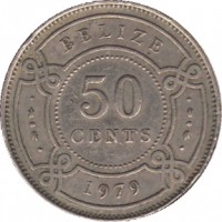 reverse of 50 Cents - Elizabeth II - 1'st Portrait (1974 - 2010) coin with KM# 37 from Belize. Inscription: BELIZE 50 CENTS 1979