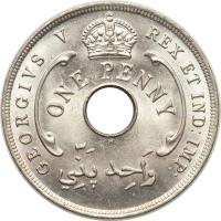 obverse of 1 Penny - George V (1912 - 1936) coin with KM# 9 from British West Africa. Inscription: GEORGIVS V REX ET IND: IMP: ONE PENNY H