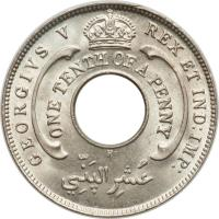 obverse of 1/10 Penny - George V (1912 - 1936) coin with KM# 7 from British West Africa. Inscription: GEORGIVS V REX ET IND: IMP: ONE TENTH OF A PENNY عشر الپذي
