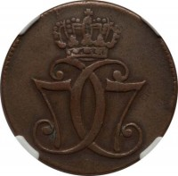 obverse of 1 Skilling - Christian VII (1771 - 1779) coin with KM# 616 from Denmark. Inscription: 7CC7