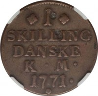 reverse of 1 Skilling - Christian VII (1771 - 1779) coin with KM# 616 from Denmark. Inscription: 1 SKILLING DANSKE K · M · 1771 ·