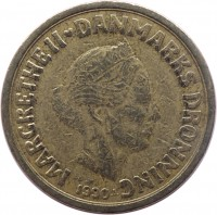 obverse of 10 Kroner - Margrethe II - 2'nd Portrait (1989 - 1993) coin with KM# 867 from Denmark. Inscription: MARGRETHE II ♥ DANMARKS DRONNING 1990