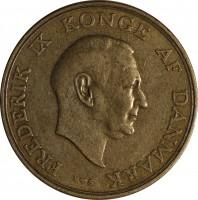 obverse of 1 Krone - Frederik IX (1947 - 1960) coin with KM# 837 from Denmark. Inscription: FREDERIK IX KONGE AF DANMARK