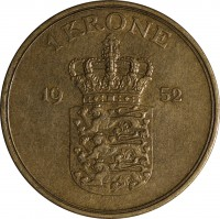 reverse of 1 Krone - Frederik IX (1947 - 1960) coin with KM# 837 from Denmark. Inscription: 1 KRONE 1952