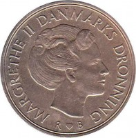 obverse of 1 Krone - Margrethe II (1973 - 1989) coin with KM# 862 from Denmark. Inscription: MARGRETHE II DANMARKS DRONNING R ♥ B