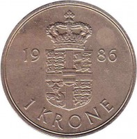 reverse of 1 Krone - Margrethe II (1973 - 1989) coin with KM# 862 from Denmark. Inscription: 19 86 1 KRONE