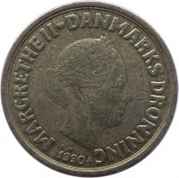 obverse of 20 Kroner - Margrethe II - 1'st Coat of Arms; 2'nd Portrait (1990 - 1993) coin with KM# 871 from Denmark. Inscription: MARGRETHE II ♥ DANMARKS DRONNING LG JP 1990