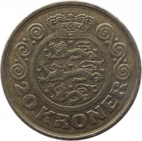 reverse of 20 Kroner - Margrethe II - 1'st Coat of Arms; 2'nd Portrait (1990 - 1993) coin with KM# 871 from Denmark. Inscription: 20 KRONER