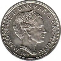 obverse of 10 Kroner - Margrethe II - 1'st Portrait (1979 - 1988) coin with KM# 864 from Denmark. Inscription: MARGRETHE II DANMARKS DRONNING