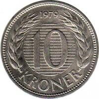 reverse of 10 Kroner - Margrethe II - 1'st Portrait (1979 - 1988) coin with KM# 864 from Denmark. Inscription: 1979 10 KRONER