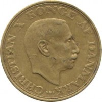 obverse of 1 Krone - Christian X (1942 - 1947) coin with KM# 835 from Denmark. Inscription: CHRISTIAN X KONGE AF DANMARK NS