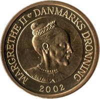 obverse of 20 Kroner - Margrethe II - 1'st Coat of Arms; 4'th Portrait (2001 - 2002) coin with KM# 888 from Denmark. Inscription: MARGRETHE II DANMARKS DRONNING 2002