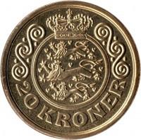 reverse of 20 Kroner - Margrethe II - 1'st Coat of Arms; 4'th Portrait (2001 - 2002) coin with KM# 888 from Denmark. Inscription: 20 KRONER
