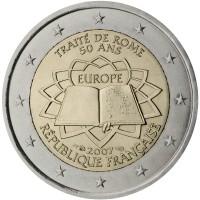 obverse of 2 Euro - Treaty of Rome (2007) coin with KM# 1460 from France. Inscription: TRAITÉ DE ROME 50 ANS EUROPE 2007 RÉPUBLIQUE FRANÇAISE