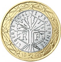 obverse of 1 Euro - 2'nd Map (2007 - 2015) coin with KM# 1413 from France. Inscription: LIBERTÉ ÉGALITÉ FRATERNITÉ RF J. JIMENEZ 20 07