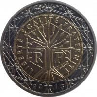 obverse of 2 Euro - 2'nd Map (2007 - 2015) coin with KM# 1414 from France. Inscription: LIBERTÉ ÉGALITÉ FRATERNITÉ J. JIMENEZ R F 20 13