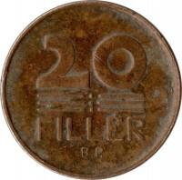 reverse of 20 Fillér (1946 - 1950) coin with KM# 531 from Hungary. Inscription: 20 FILLÉR B P.