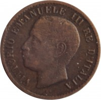 obverse of 1 Centesimo - Vittorio Emanuele III (1902 - 1908) coin with KM# 35 from Italy. Inscription: VITTORIO EMANUELE III RE D'ITALIA S.