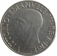 obverse of 1 Lira - Vittorio Emanuele III - Magnetic (1939 - 1943) coin with KM# 77b from Italy. Inscription: VITTORIO.EMANUELE.III.RE.E.IMP. G.ROMAGNOLI