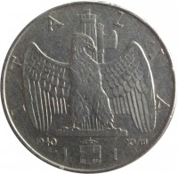 reverse of 1 Lira - Vittorio Emanuele III - Magnetic (1939 - 1943) coin with KM# 77b from Italy. Inscription: ITALIA 1943 XXI R L. 1