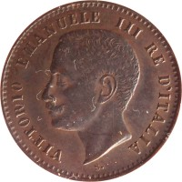 obverse of 2 Centesimi - Vittorio Emanuele III (1903 - 1908) coin with KM# 38 from Italy. Inscription: VITTORIO EMANUELE III RE D'ITALIA S