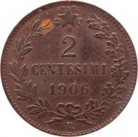 reverse of 2 Centesimi - Vittorio Emanuele III (1903 - 1908) coin with KM# 38 from Italy. Inscription: 2 CENTESIMI 1906 R