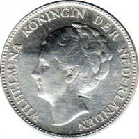 obverse of 1 Gulden - Wilhelmina (1922 - 1945) coin with KM# 161 from Netherlands. Inscription: WILHELMINA KONINGIN DER NEDERLANDEN