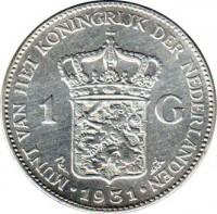 reverse of 1 Gulden - Wilhelmina (1922 - 1945) coin with KM# 161 from Netherlands. Inscription: MUNT VAN HET KONINGRIJK DER NEDARLANDEN 1 G · 1931 ·