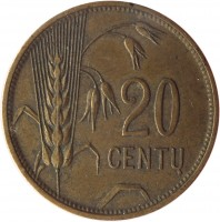 reverse of 20 Centų (1925) coin with KM# 74 from Lithuania. Inscription: 20 CENTŲ